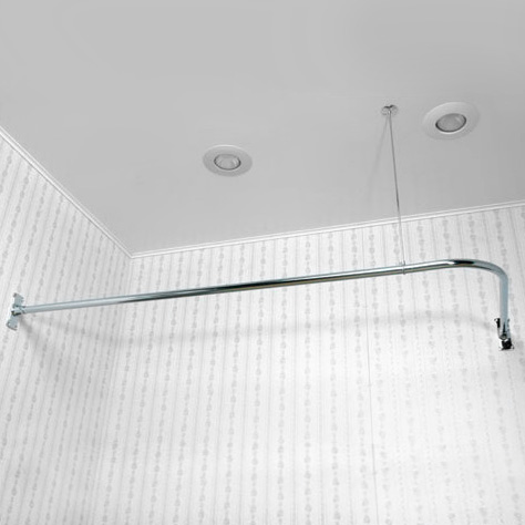 L or 90 degree shower curtain rods