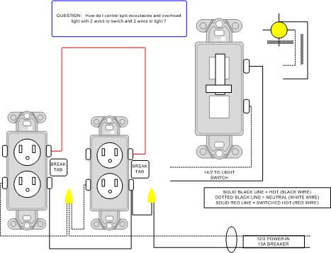 DIY - Split receptacle to light switch and light fixture ...  Way Split Receptacle Wire Diagram on 3 way valve diagram, 3 way light diagram, 3 way stop diagram, 3 way plug diagram, 3 way bulb diagram, 3 way outlet diagram, 3 way fan diagram, 3 way switches diagram, 3 way sensor diagram, 3 way solenoid diagram, 3 way rocker switch diagram, 3 way lighting diagram,