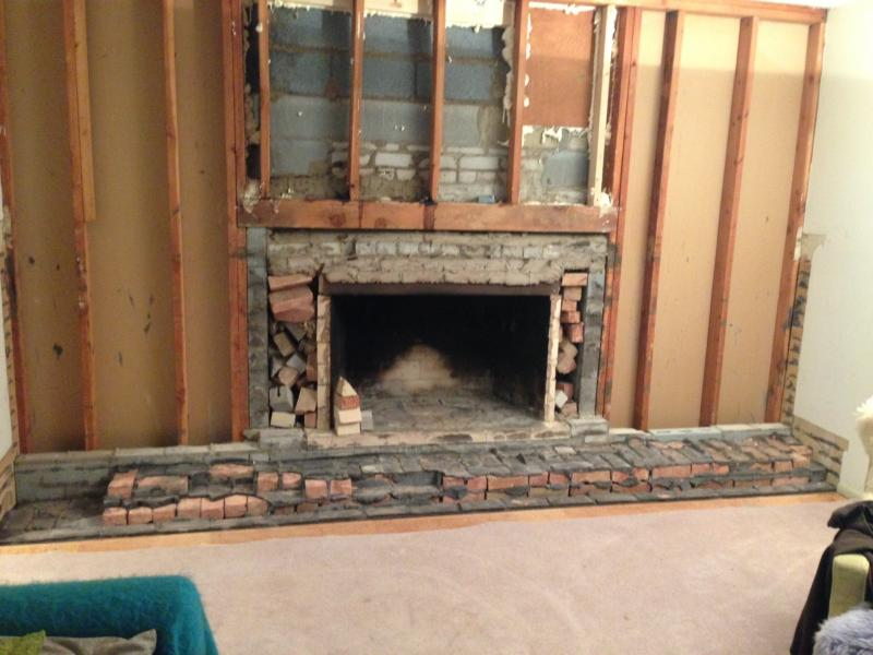 how to take out a brick fireplace