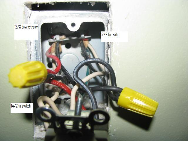 DIY - Split receptacle to light switch and light fixture with 14/2 ...