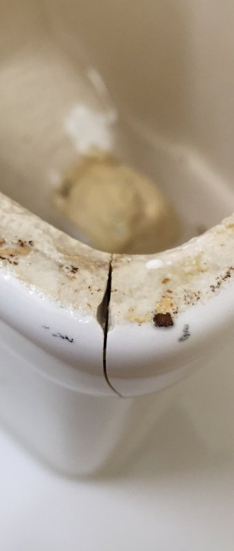 i got the toilet cleaned up and calcium free my main concern is now the huge crack in the base you can see through it iu0027m going to try to find some
