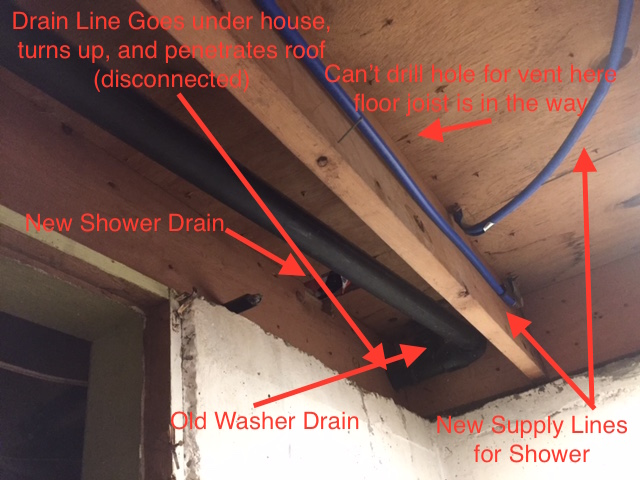 I Need Some Pointers On How I Can Properly Drain And Vent This Shower. I  Canu0027t Put A Vertical Vent Next To The Supply Lines, As The Floor Joists Is  In The ...