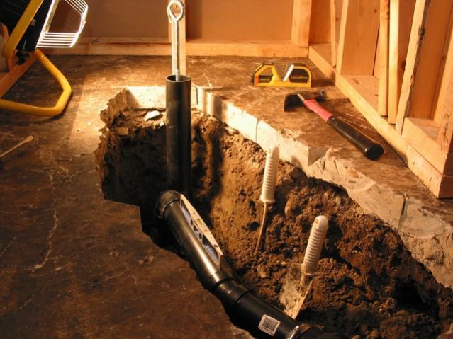 basement shower drain rooms