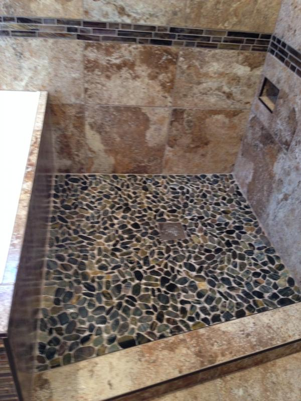 Wrong Grout For Flat Pebble Shower Floor Terry Love Plumbing - Can i grout over existing grout
