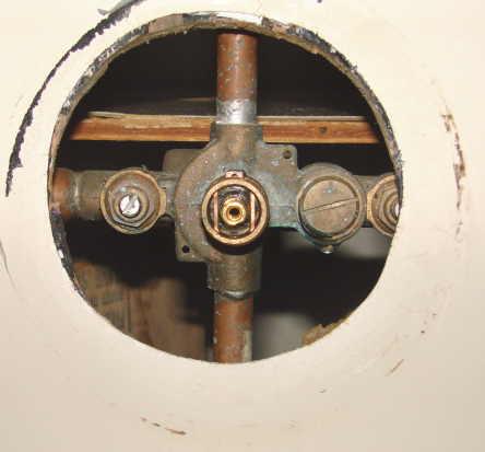 leaky screw on right jpg. Older Moen tub shower valve leak   Terry Love Plumbing   Remodel