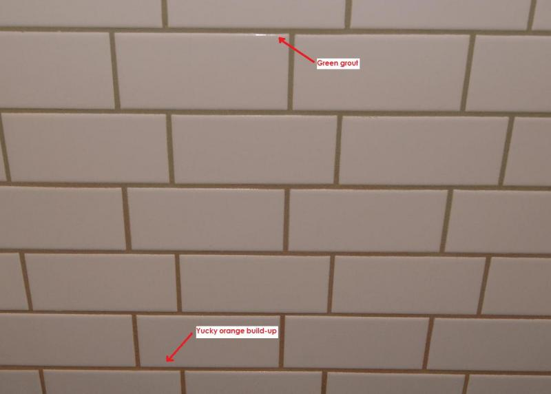 Orange on grout jpg. Orange build up on showertile grout   Terry Love Plumbing