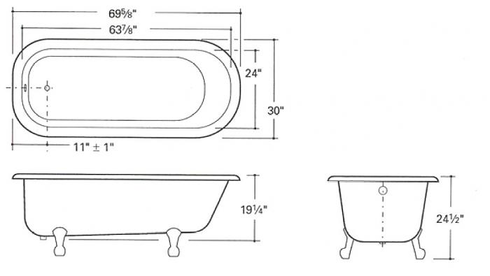Clawfoot bathtub drawing for Tub length