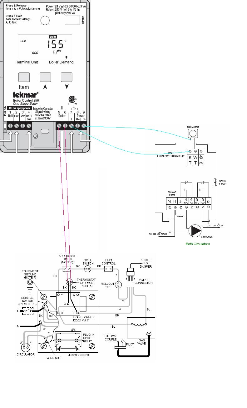 boiler wiring (weil cga, tekmar 256, taco sr501, and t stat taco wiring diagram at gsmx.co