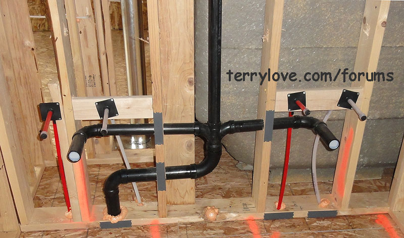 Single to double sink vanity again terry love plumbing for How to rough plumb a bathroom sink