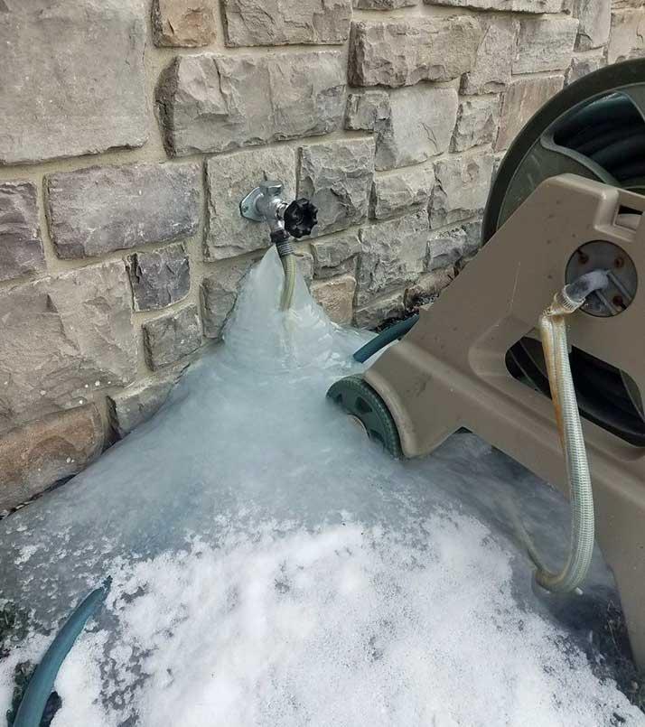 Frozen outside hose bib leaks in wall when using hose ...