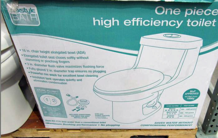 Costco water ridge dual flush toilet review pictures for Quality craft alexis toilet parts