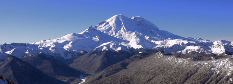 Mount Rainier from the top of Crystal Mountain resort in Washington