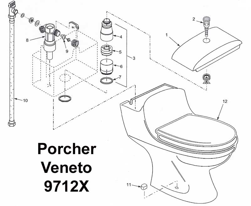 Porcher Veneto Toilet Repairs Terry Love Plumbing  Remodel DIY - Parts of a toilet cistern