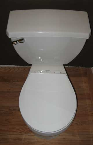 the gerber ultraflush looking down from the top - Pressure Assist Toilet