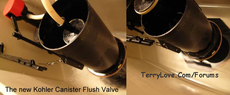replacing toilet tank parts.  IMG Kohler Wellworth Canister Flush Valve chain tangling Terry Love